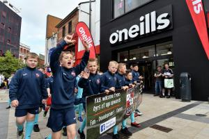 Clooney Soccer School youngsters taking part in the O'Neill's Foyle Cup parade.